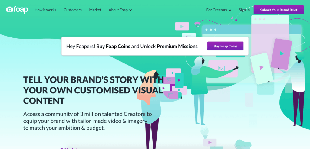 Foap gives a 50% royalty on images sold through it's platform