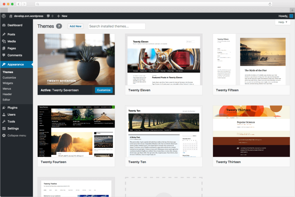 WordPress default themes - backend screenshot