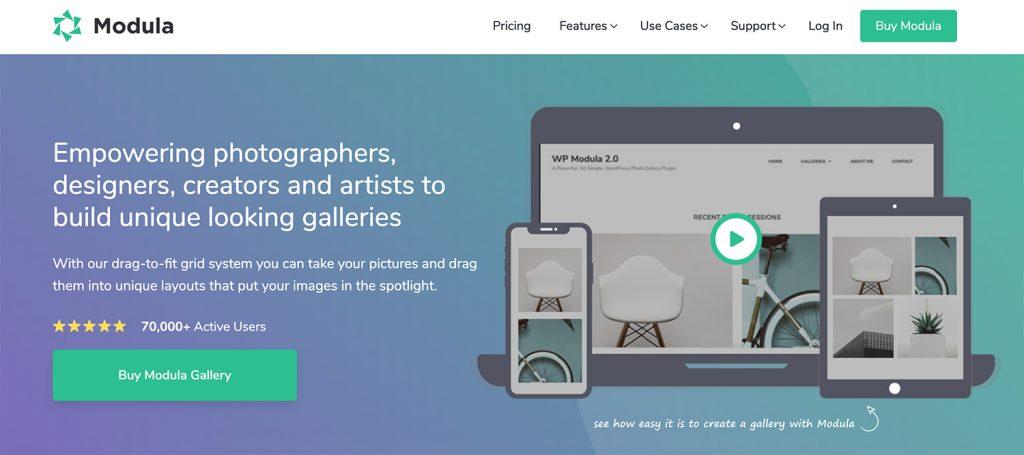 Modula homepage screenshot