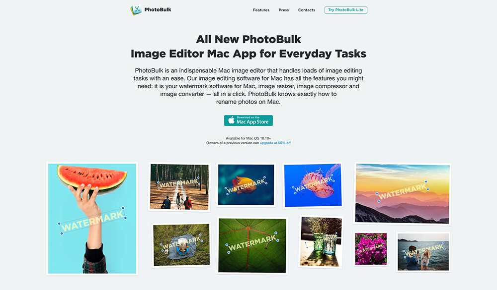 Photobulk homepage screenshot