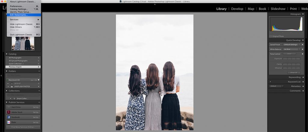 Editing watermarks in Lightroom