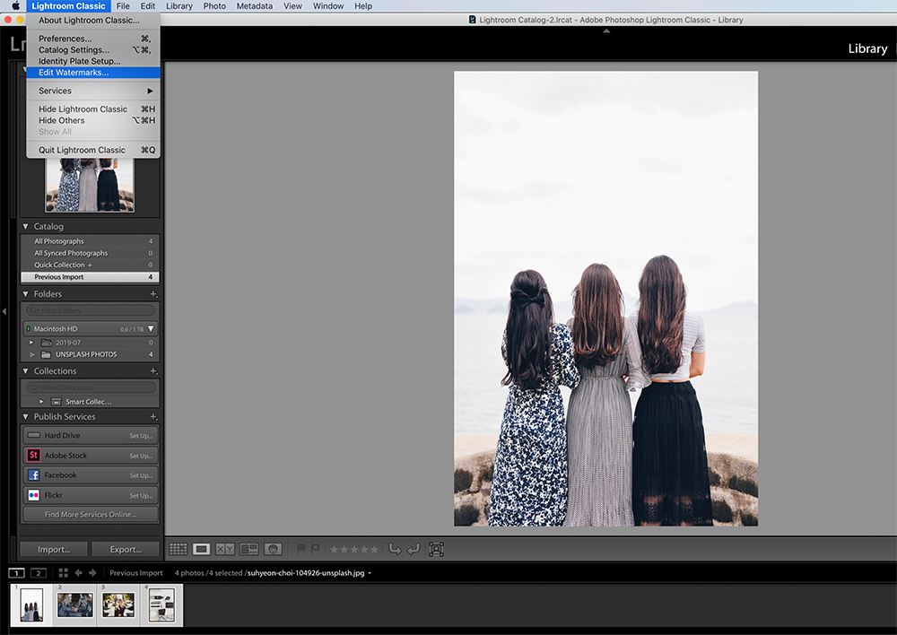 Step Two: Editing watermarks in Lightroom
