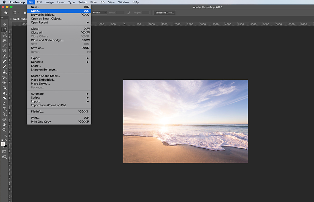 Step Two: Opening a watermarked photo in Photoshop