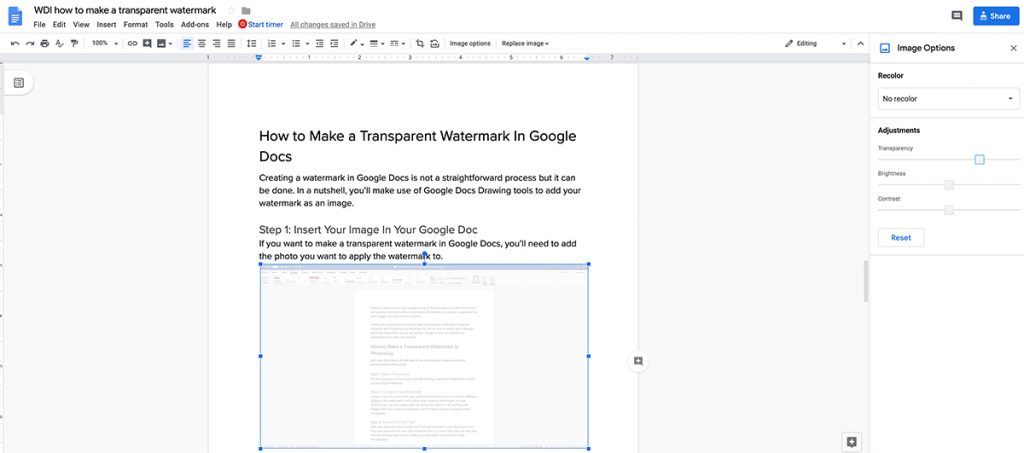 Adjusting the image opacity in Google Docs