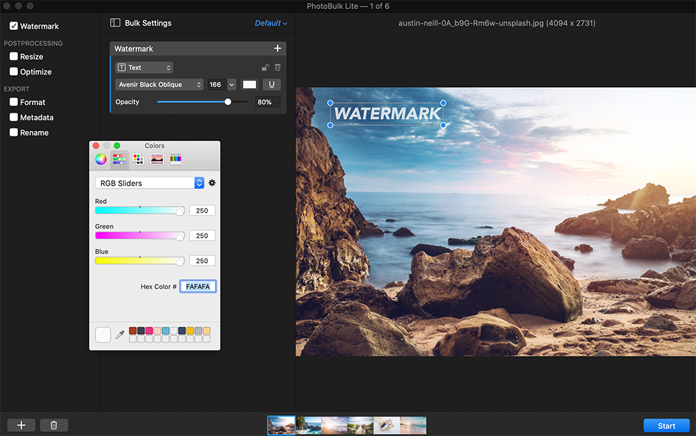 Step 2: Customizing a watermark in Photobulk