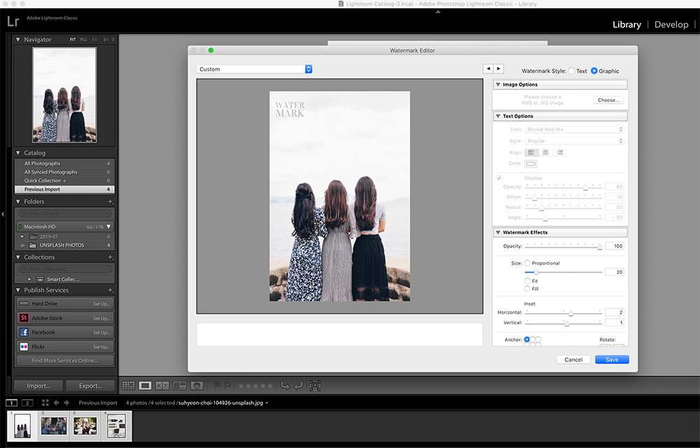 Step Three: Setting up watermark options in Lightroom