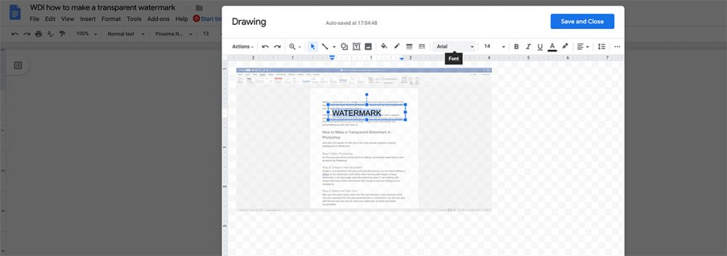 Adding your business name over the image in Google Docs.