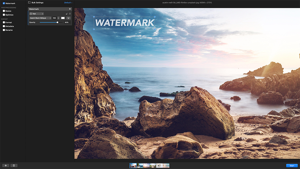 Step 3: Applying a watermark in Photobulk