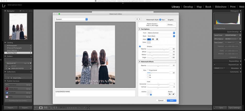 Setting the opacity in Lightroom