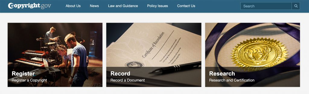copyright.gov homepage screenshot