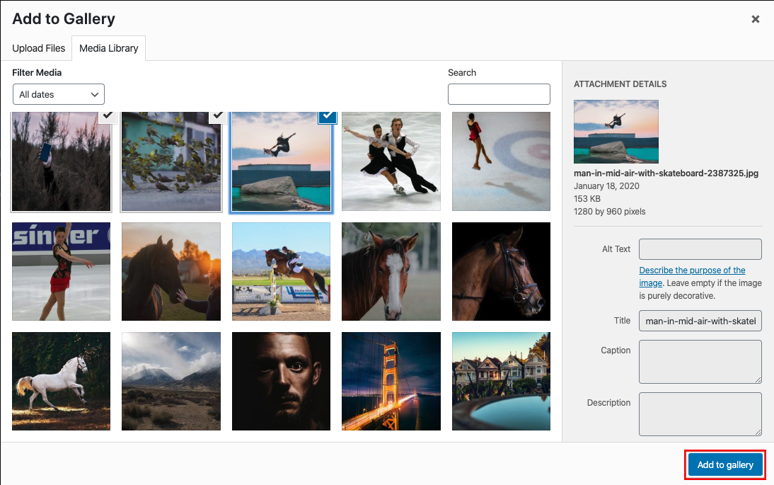 Add images to WP Modula gallery