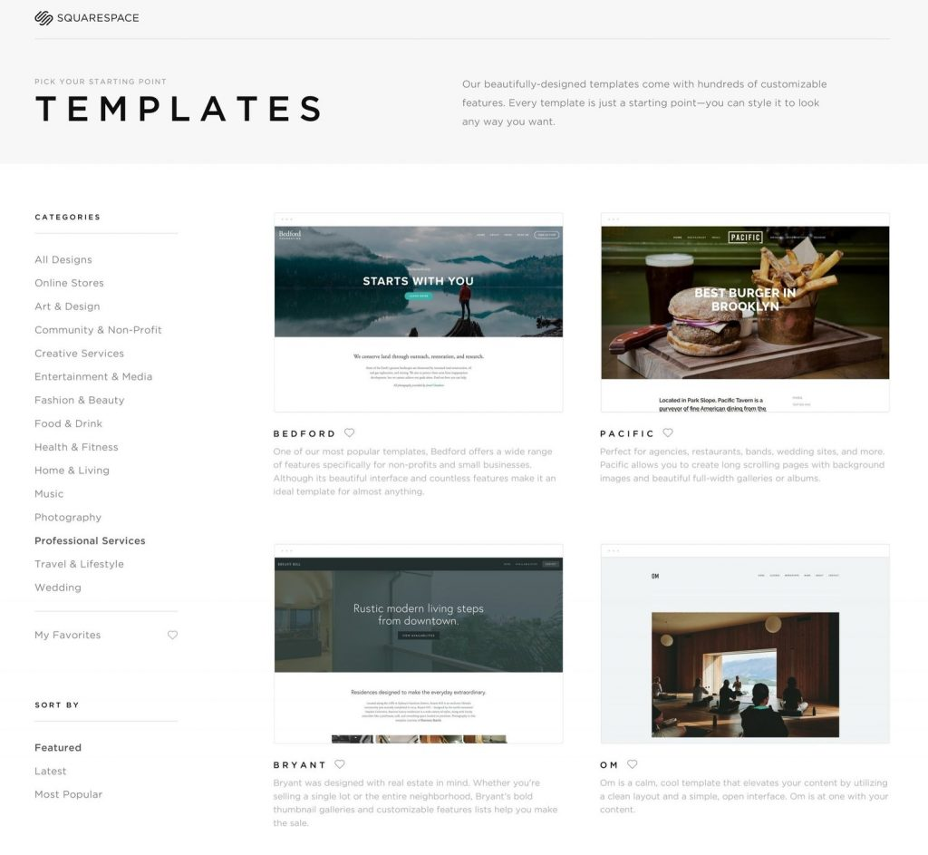 Squarespace website builder templates