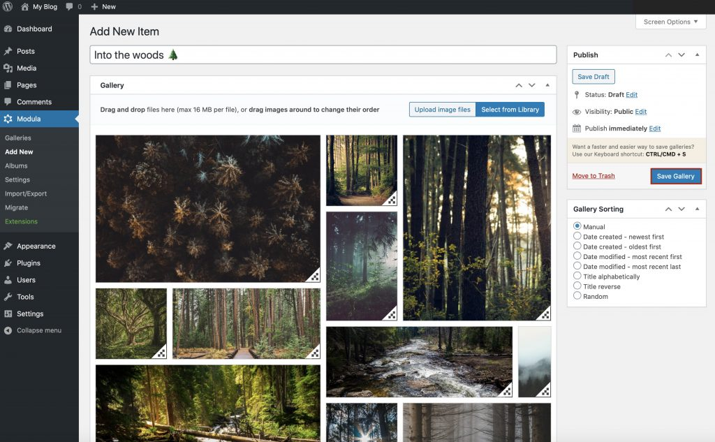 Publishing your first gallery with Modula