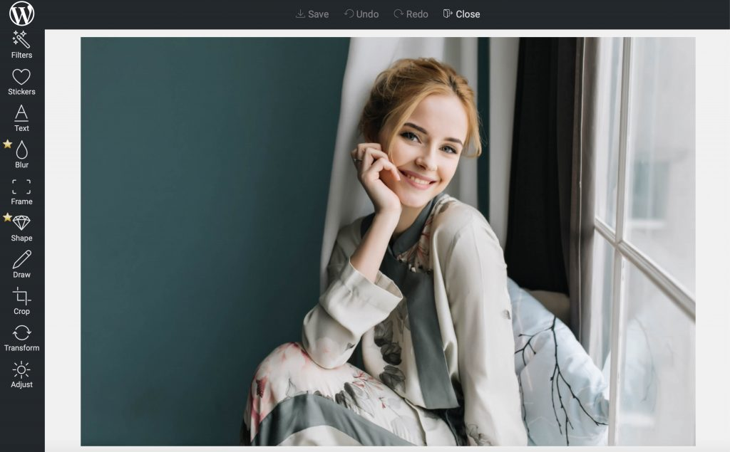 Pixo Editor photo editing plugin - interface