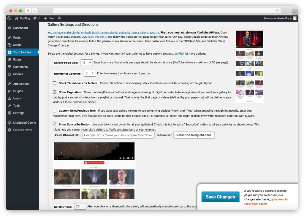 Embed plus for YouTube - Gallery Settings and Directions