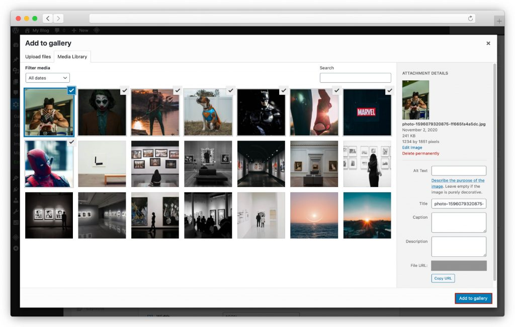 Upload images to your gallery - WP gallery plugin