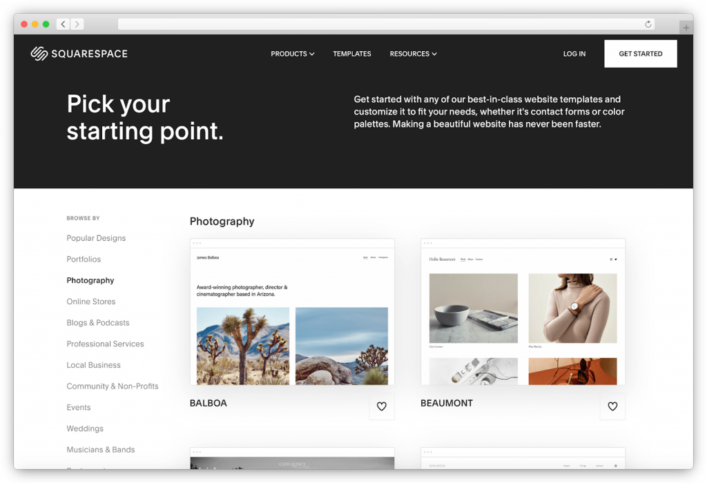 Squarespace - template selection