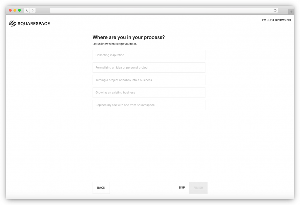 Squarespace - choose a reason for which you're creating a website