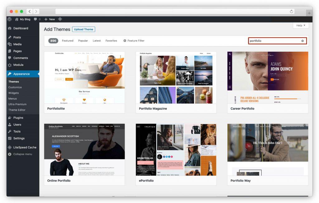 search-free-wordpress-portfolio-themes