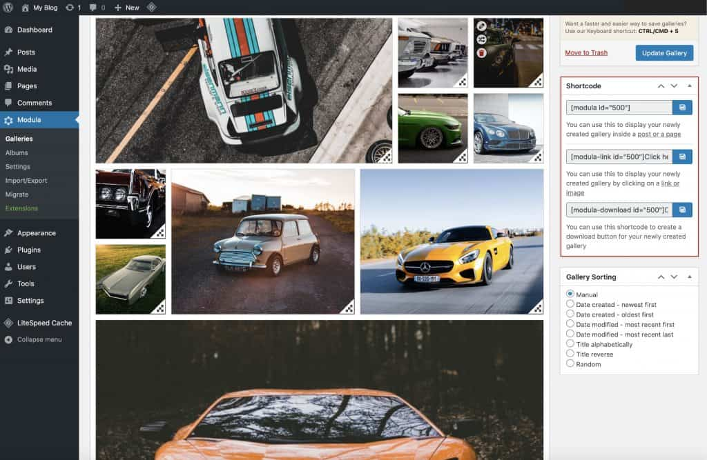 Create an image gallery in WordPress