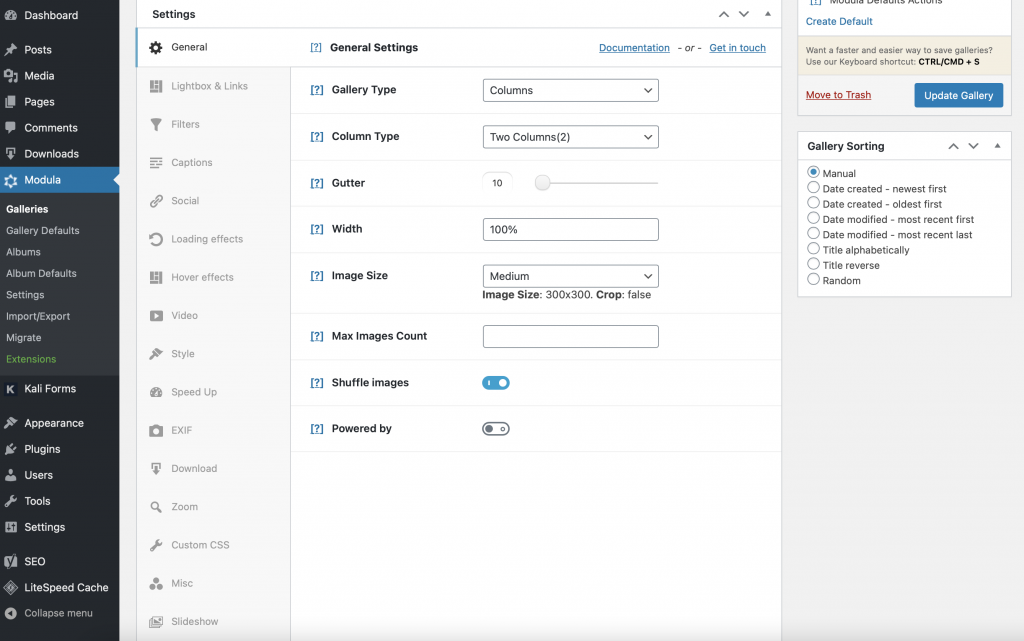Customization options for masonry image gallery