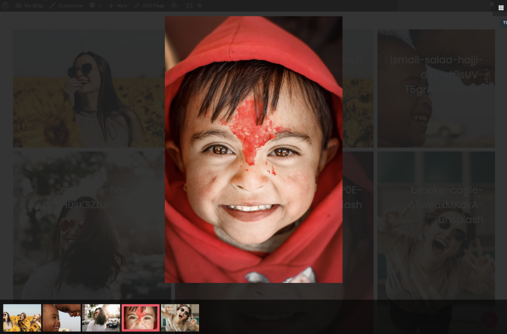 Image gallery with thumbnails