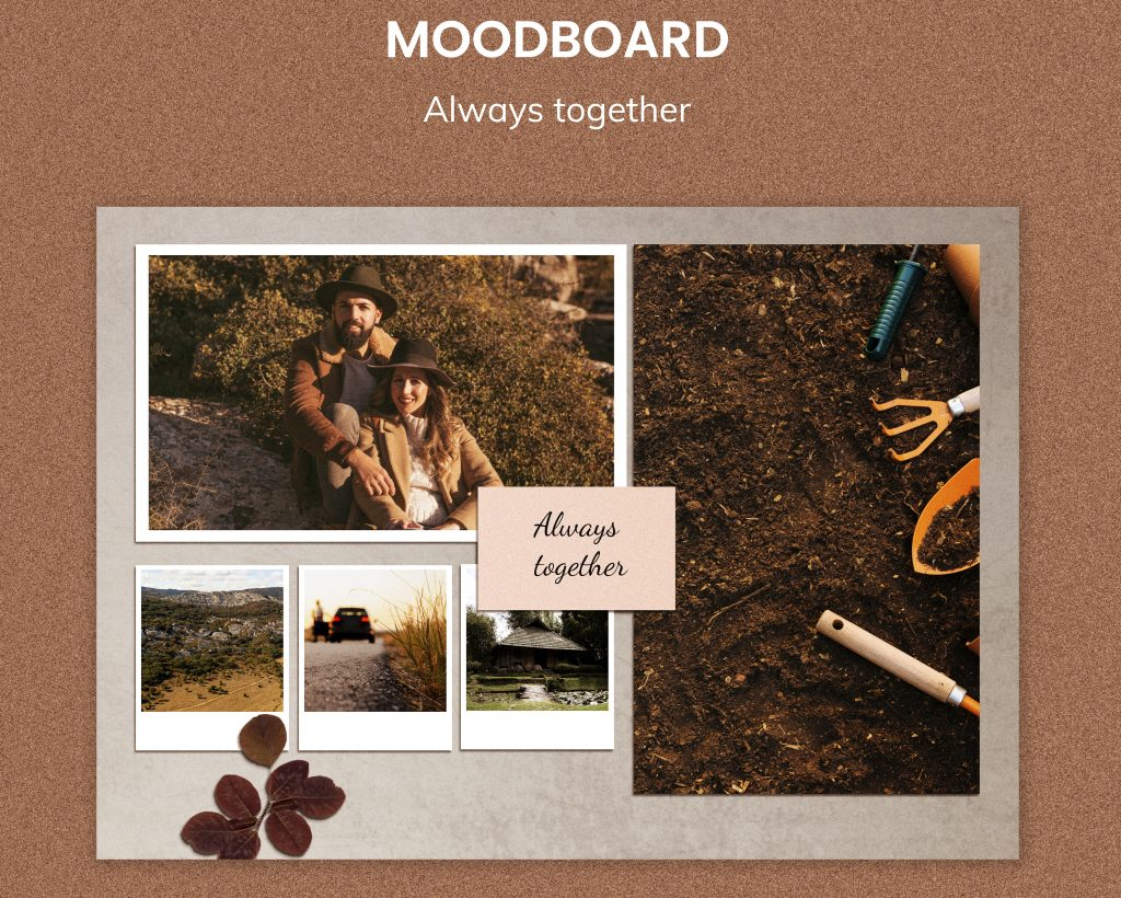 Mood board for engagement photoshoot