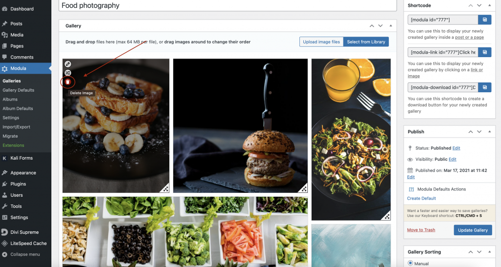 Delete images from WordPress gallery