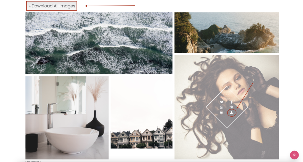 WordPress gallery with downloadable images