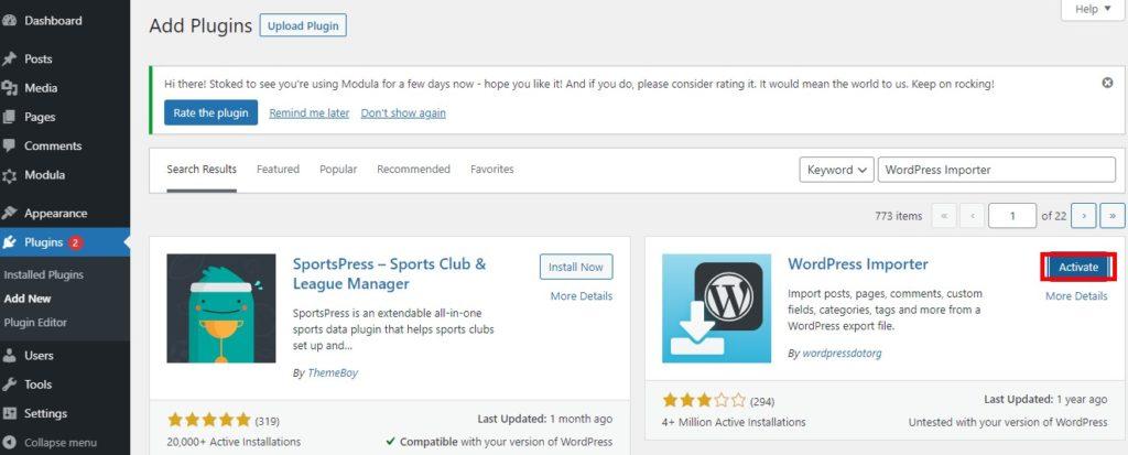 Activate WordPress Importer
