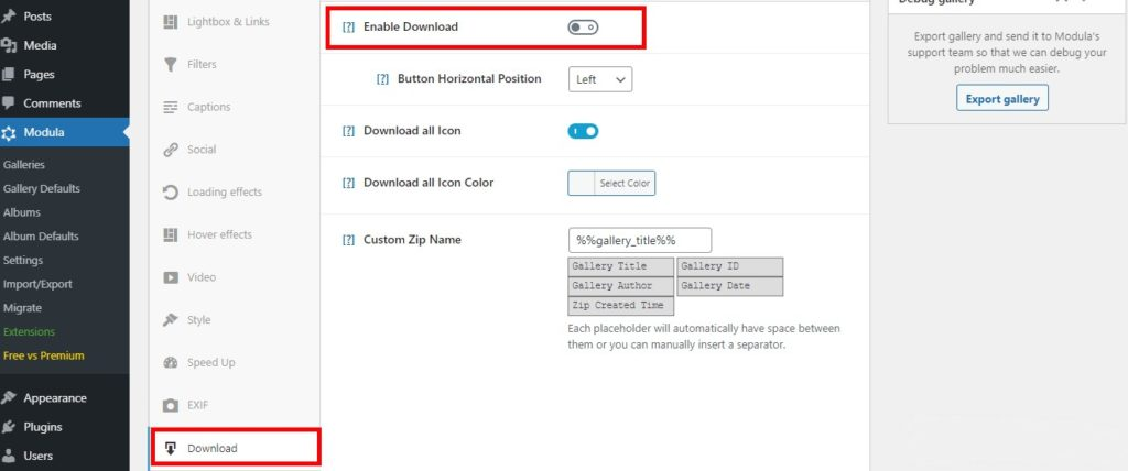 Enable download