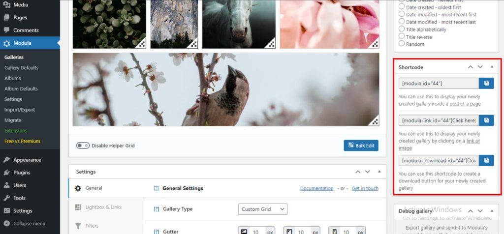 shortcodes for your online photo gallery